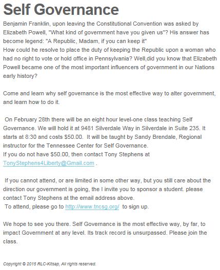 RLC Self-Governance Mar 2015